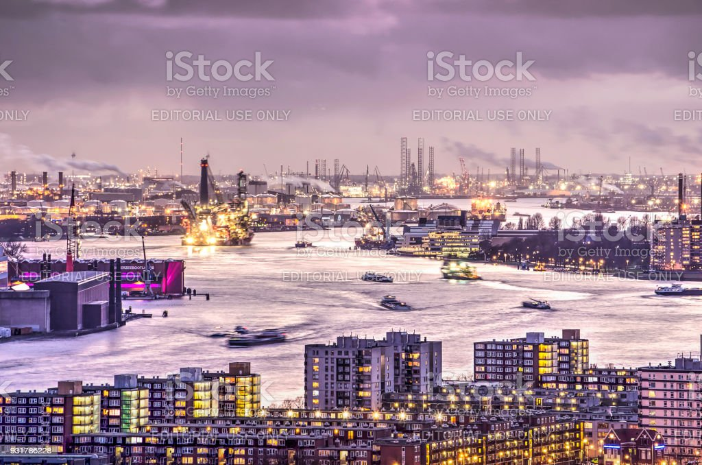 The city, the port and the clouds stock photo