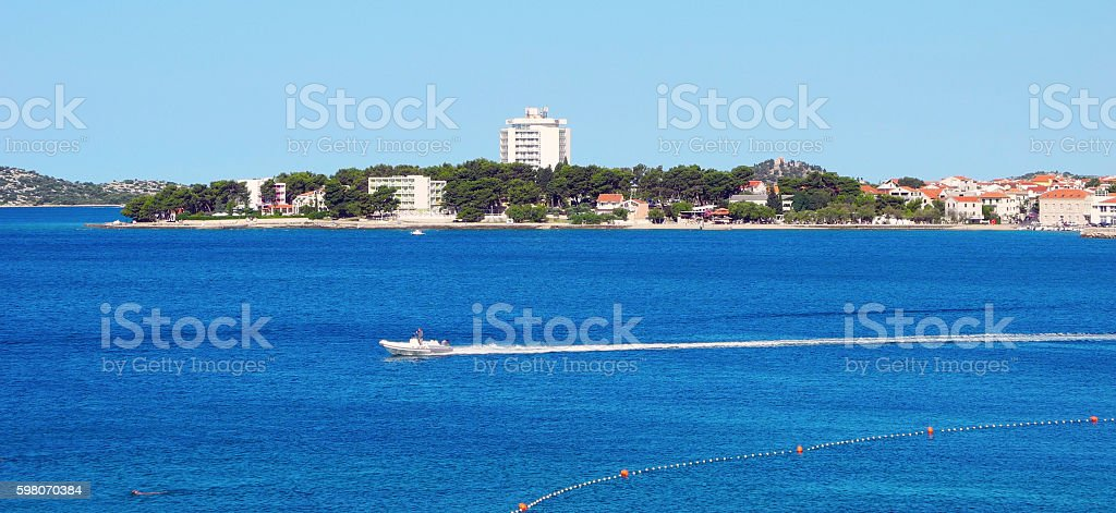 The city Vodice on the Adriatic coast. stock photo