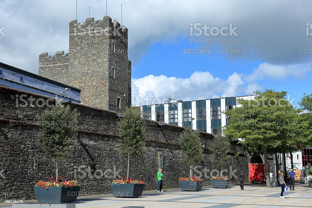 The City Wall of Derry in Northern Ireland stock photo