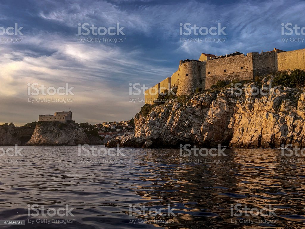 The City Wall of Dubrovnik and the Fortress Lovrijenac from the sea ストックフォト