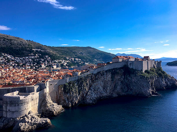 The City Wall of Dubrovnik, Croatia from Fortress Lovrijenac ストックフォト