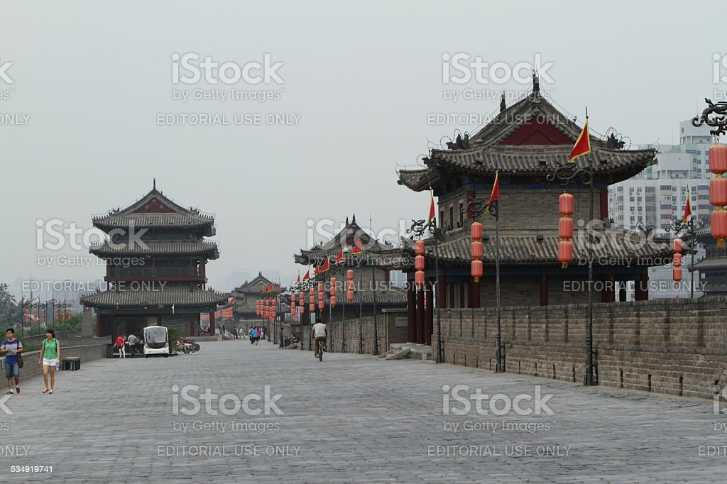 The City Wall of Xian in China stock photo