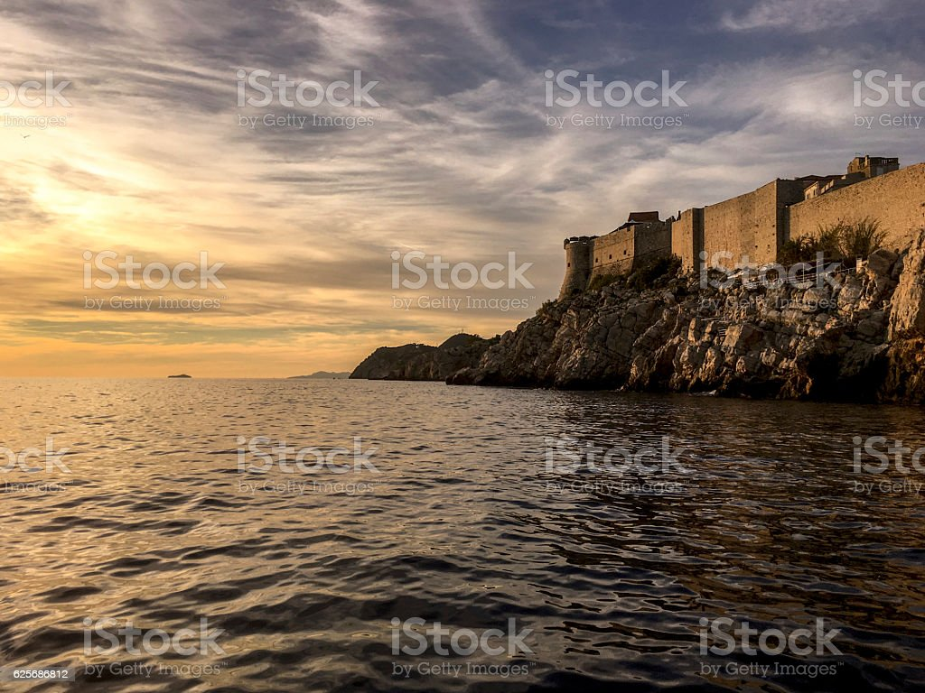 The City Walls of Dubrovnik in sunset ストックフォト
