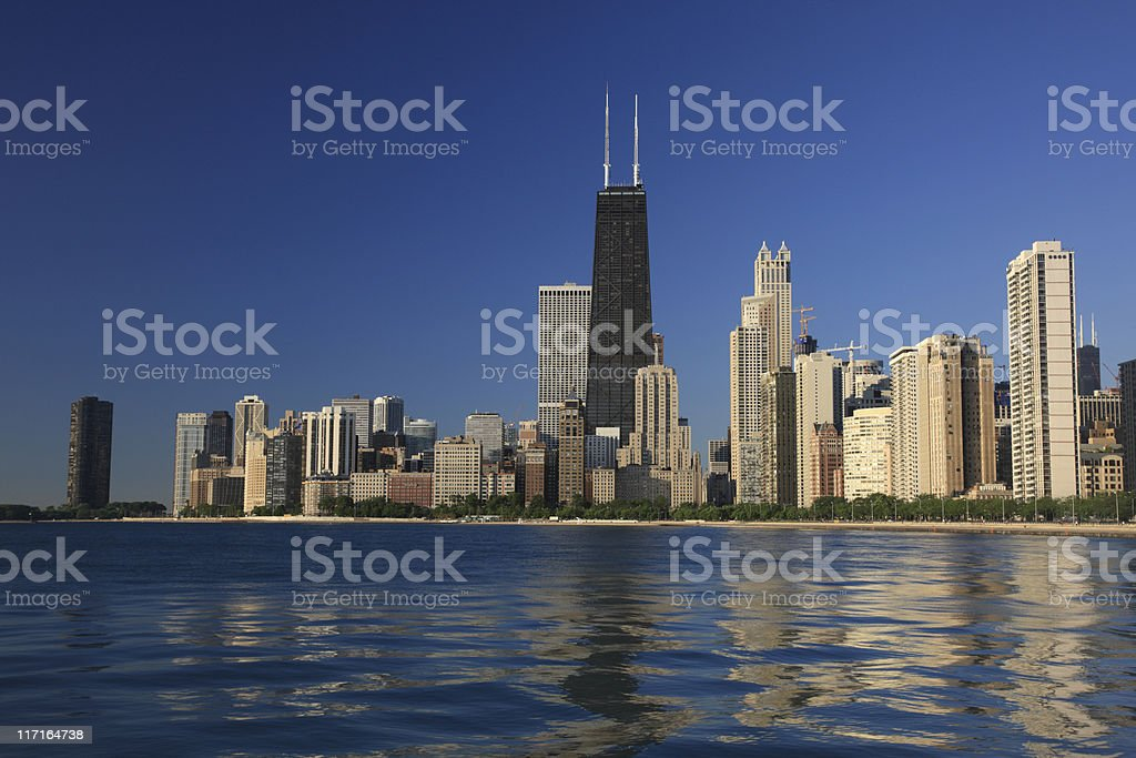 The cityscape against the water in Chicago royalty-free stock photo