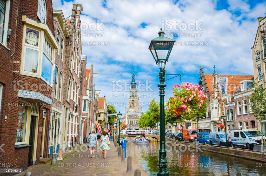 The cityscape blue sky in Alkmaar with Waagplein the signature of...