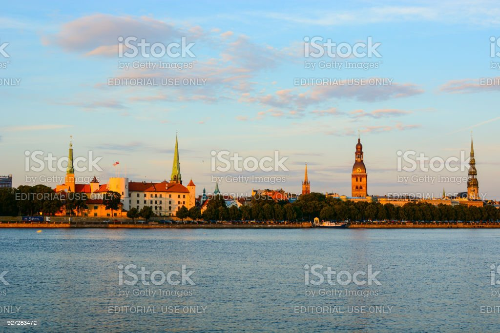 The cityscape of the old town of Riga and Daugava (Western Dvina) river, Latvia. Medieval architecture, Gothic style buildings, panoramic view stock photo