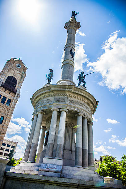 the civil war monument at lackawanna county courthouse square - scranton pa stock photos and pictures