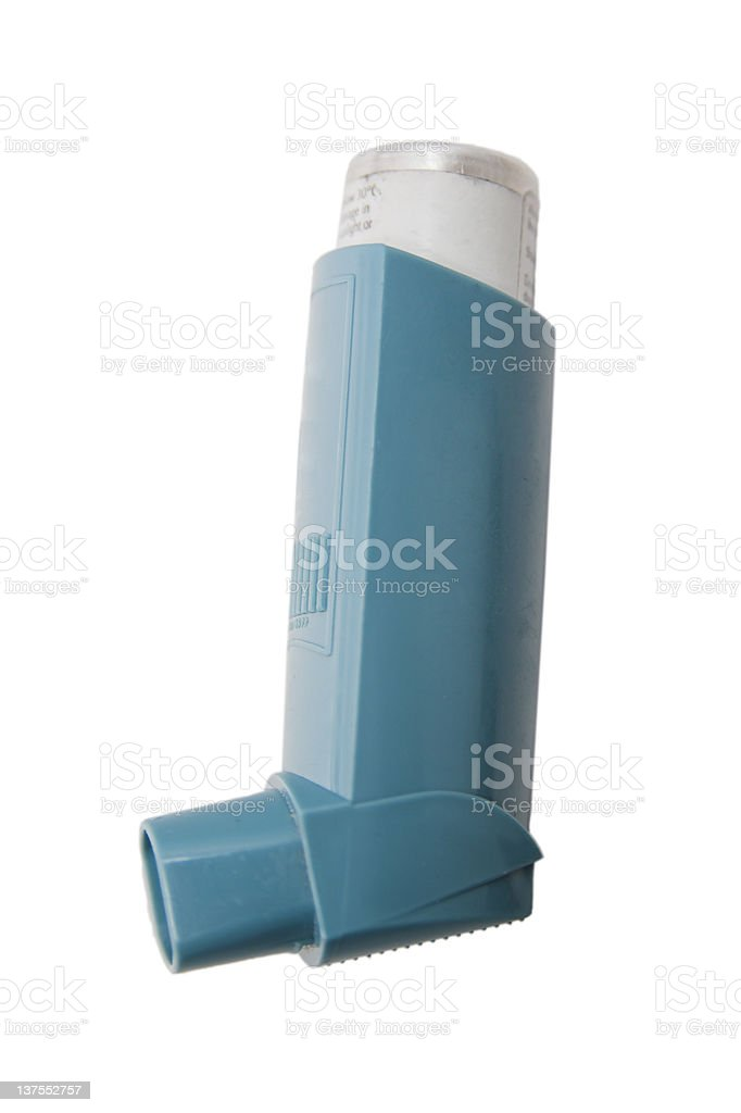 The classic blue asthma inhaler stock photo
