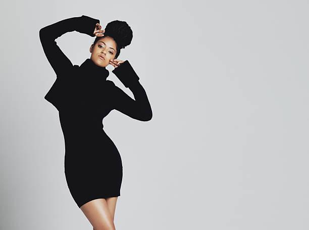 The classic little black dress, stylish and versatile stock photo