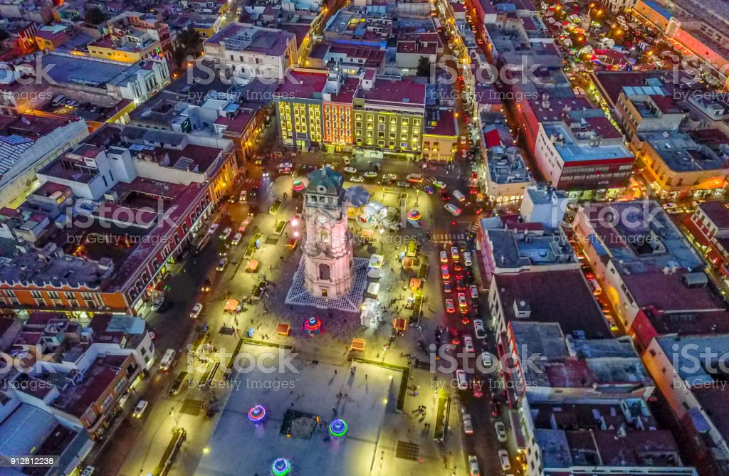 The clcok stands in the center of the square on Pachuca stock photo