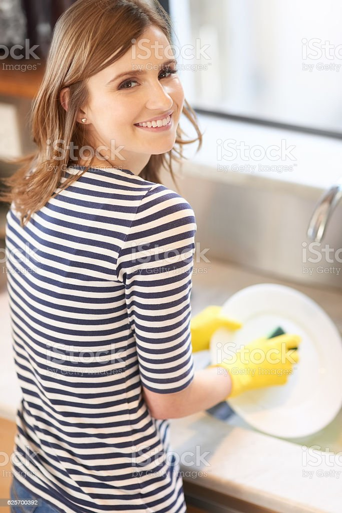 The cleaner the kitchen, the happier the home stock photo