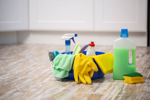 the cleaning concept with supplies. spring cleaning - disinfectant stock pictures, royalty-free photos & images