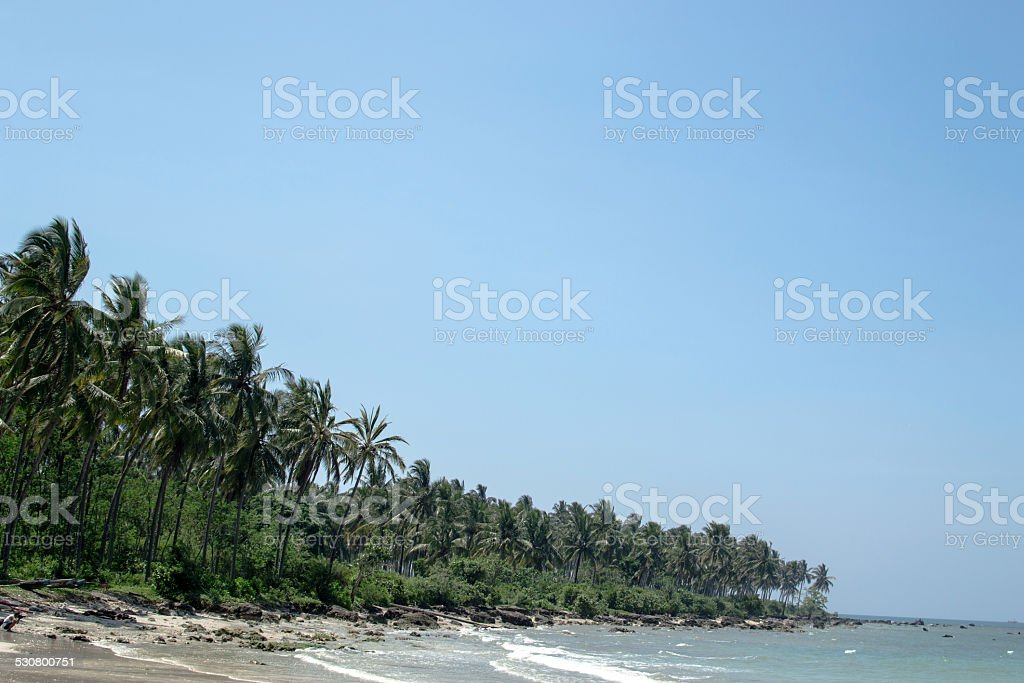 The Clear Blue Skies at The Beach stock photo