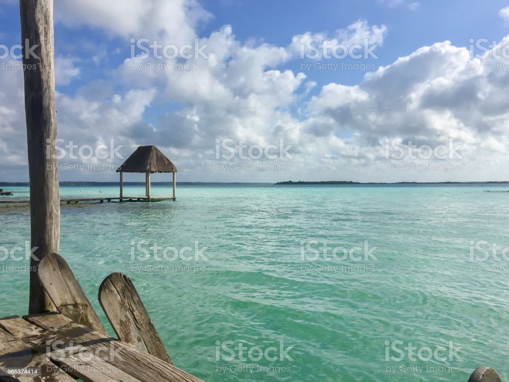 The clear waters of Lago Bacalar in Mexico royalty-free stock photo