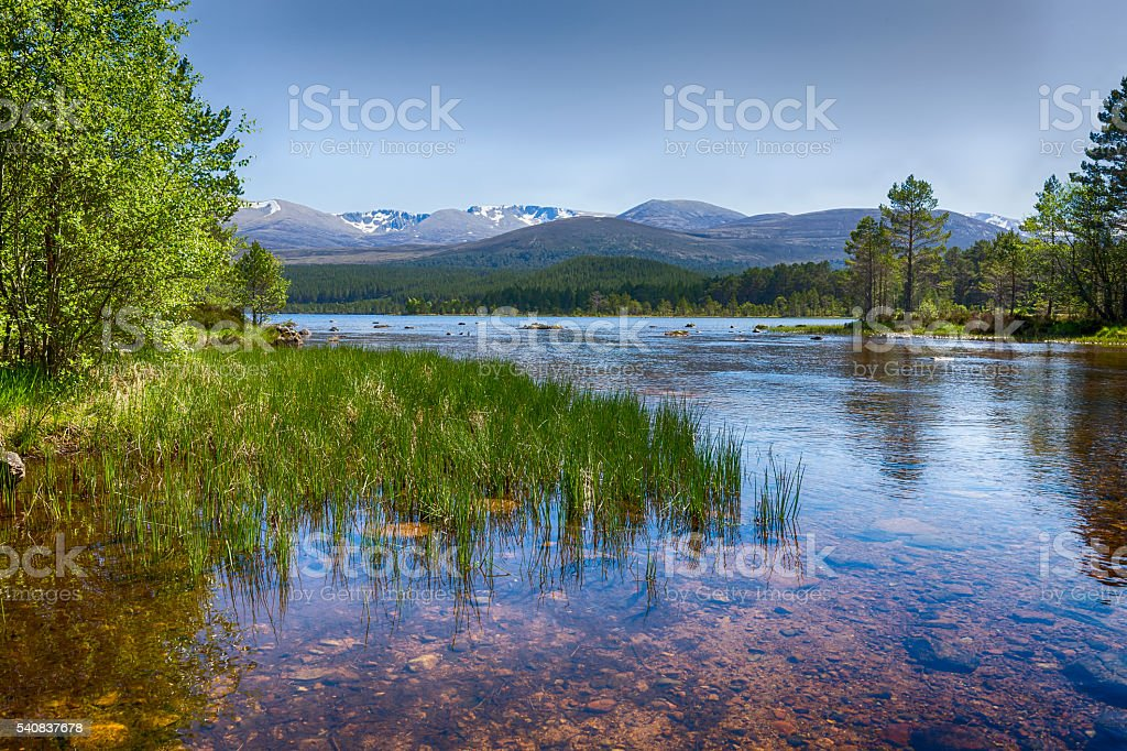 The clear waters of Loch Morlich, Scotland stock photo