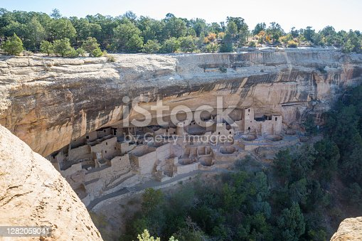 Landscape view of the famous cliff dwellings in Mesa Verde National Park, home of the ancient Pueblo people.