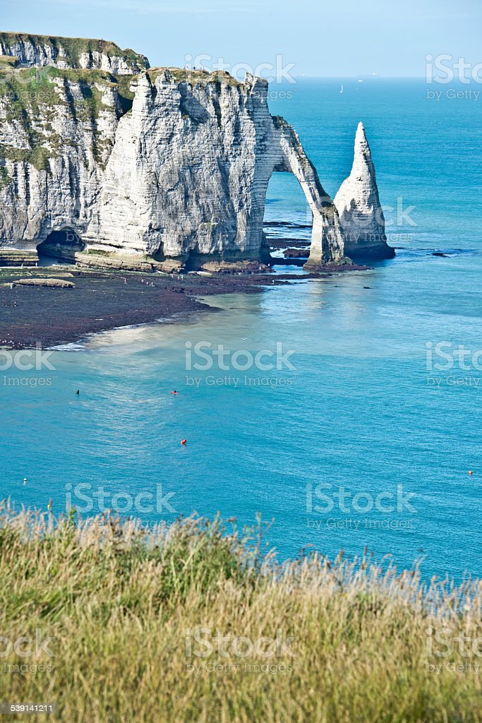 The cliff of Etretat, Normandy, France stock photo