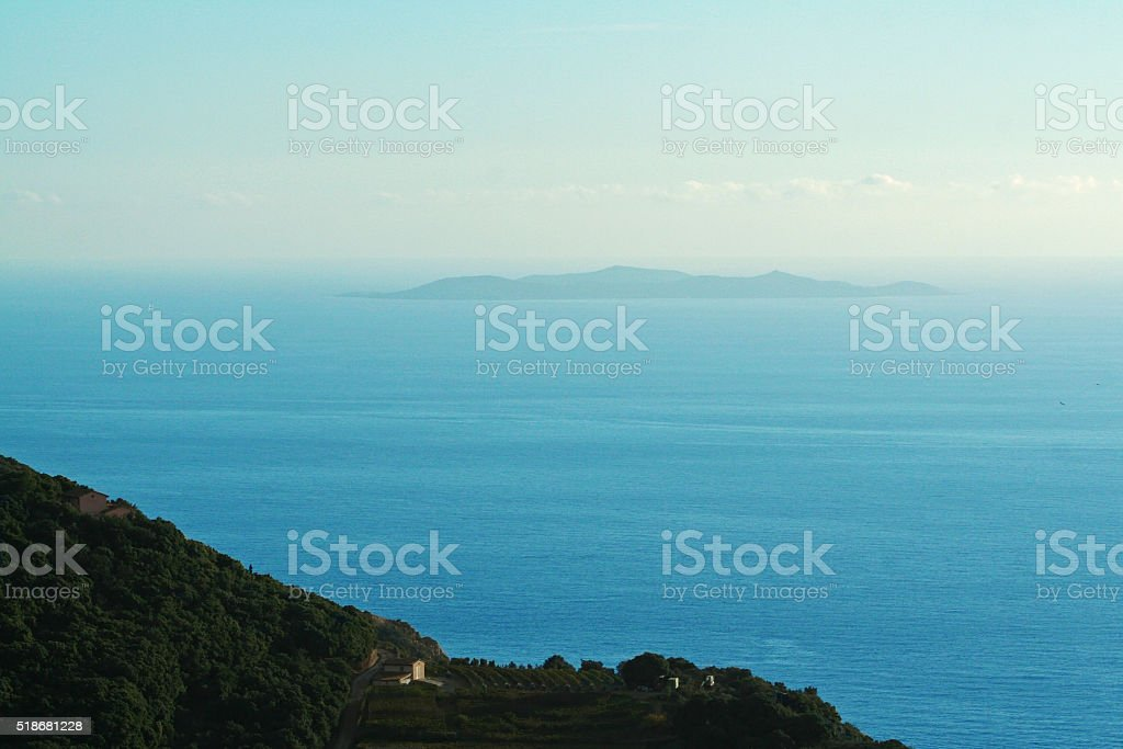 The cliffs of Monte Argentario in Tuscany- Giglio island stock photo