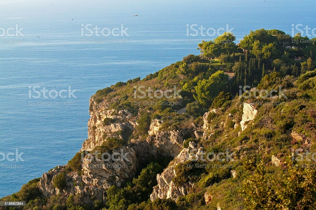 The cliffs of Monte Argentario in Tuscany stock photo
