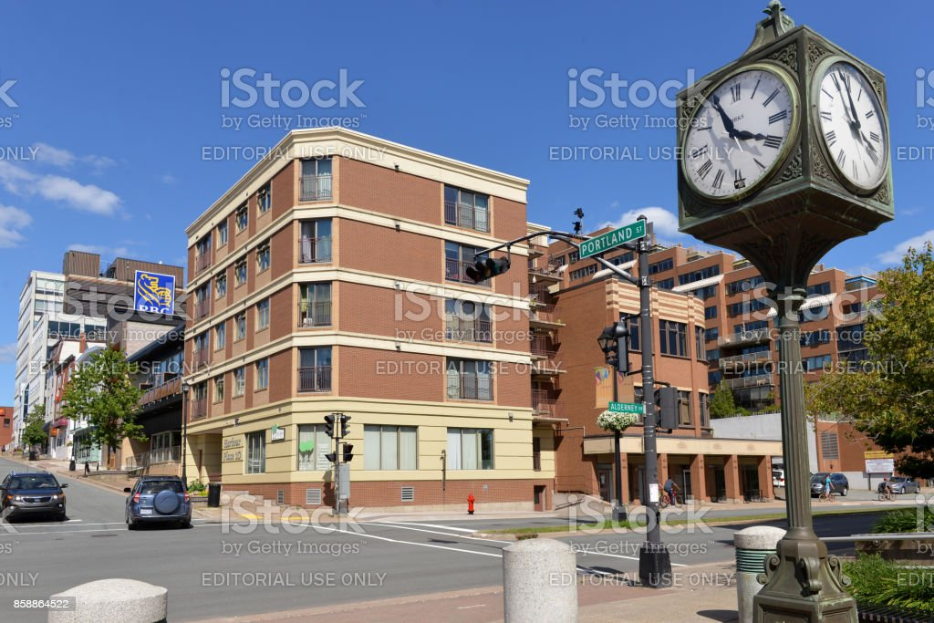 The clock at the start of Portland St in Dartmouth. Nova Scotia stock photo