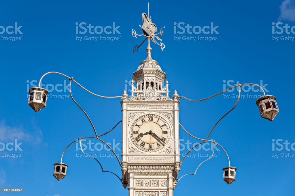 The clock tower details of Victoria capital, Mahe island,  also known as Little Big Ben, Seychelles stock photo