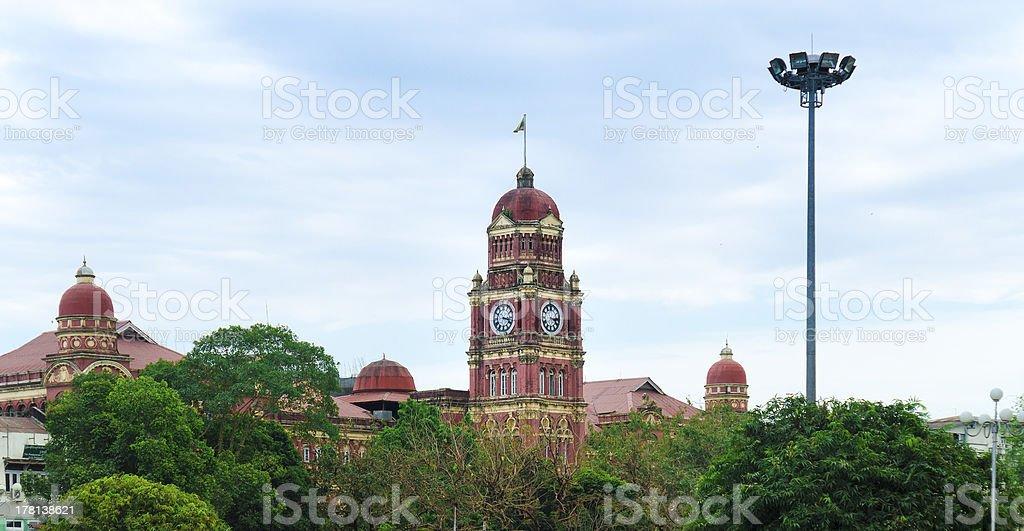 The clock tower (Supreme Court of Myanmar) in Yangon, Burma royalty-free stock photo