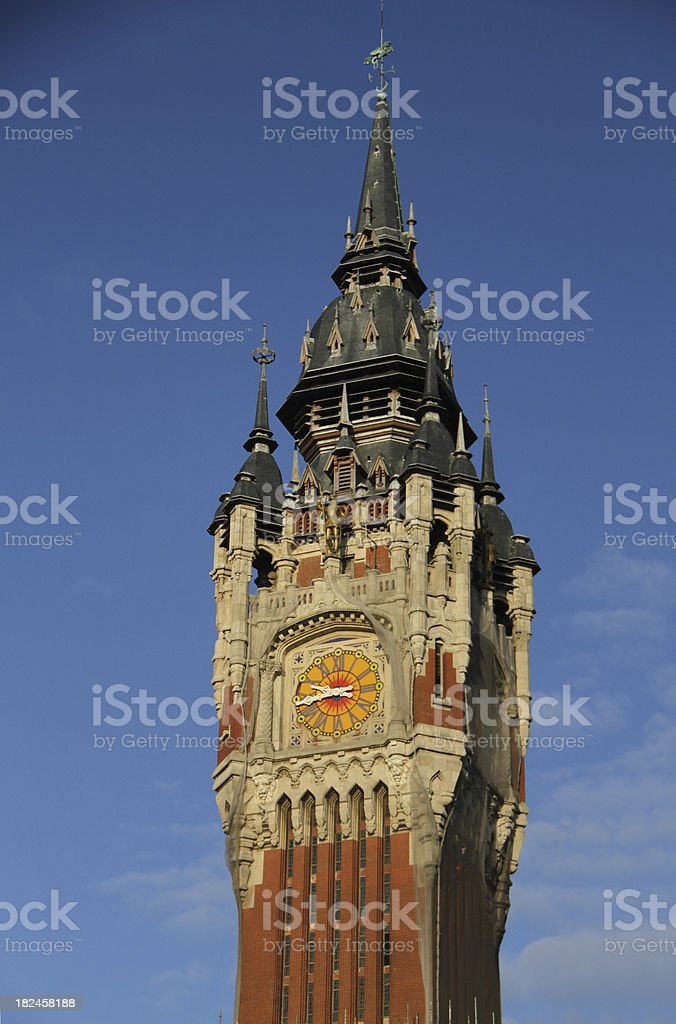 The Clock Tower of Calais Town Hall, France royalty-free stock photo