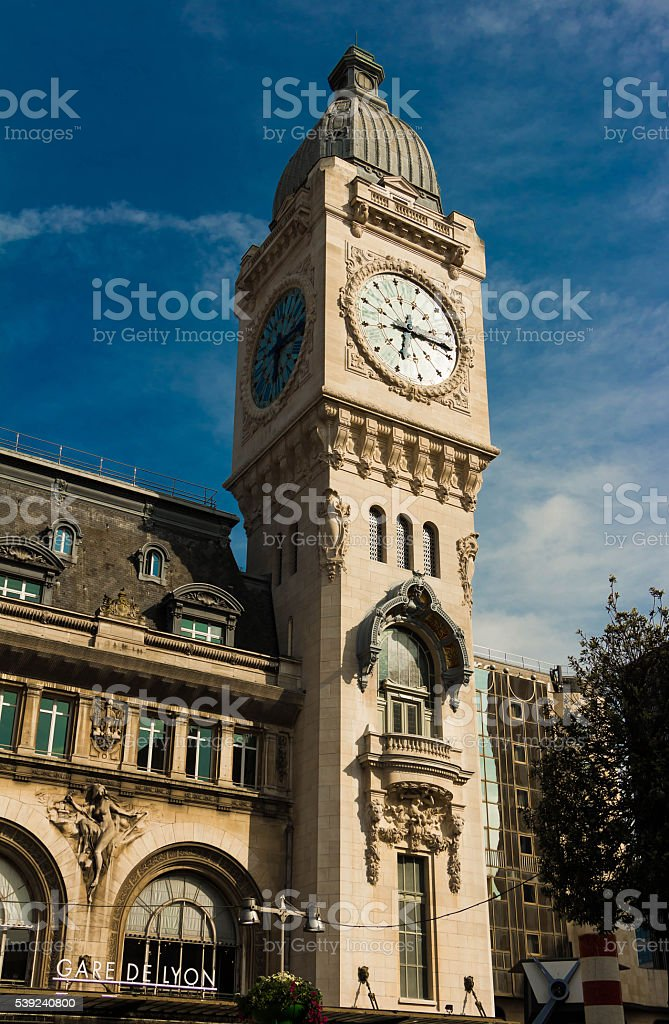 The clock tower of Gare de Lyon, Paris, France. royalty-free stock photo