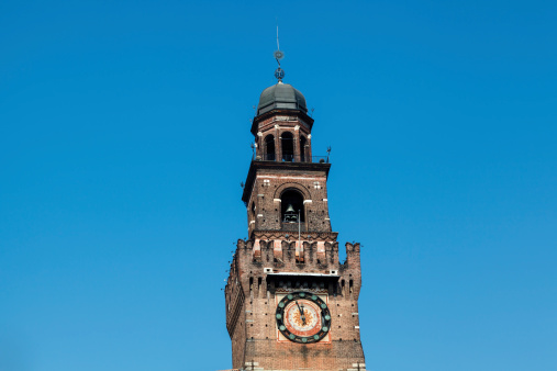 The Clock Tower of Sforzesco Castle in Milan, Lombardy, Italy