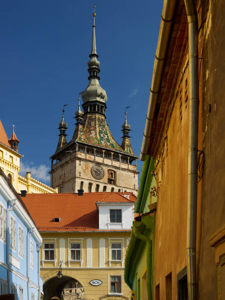 The Clock Tower of Sighisoara (Romanian: Turnul cu Ceas) is the main entry point to the medieval citadel stock photo