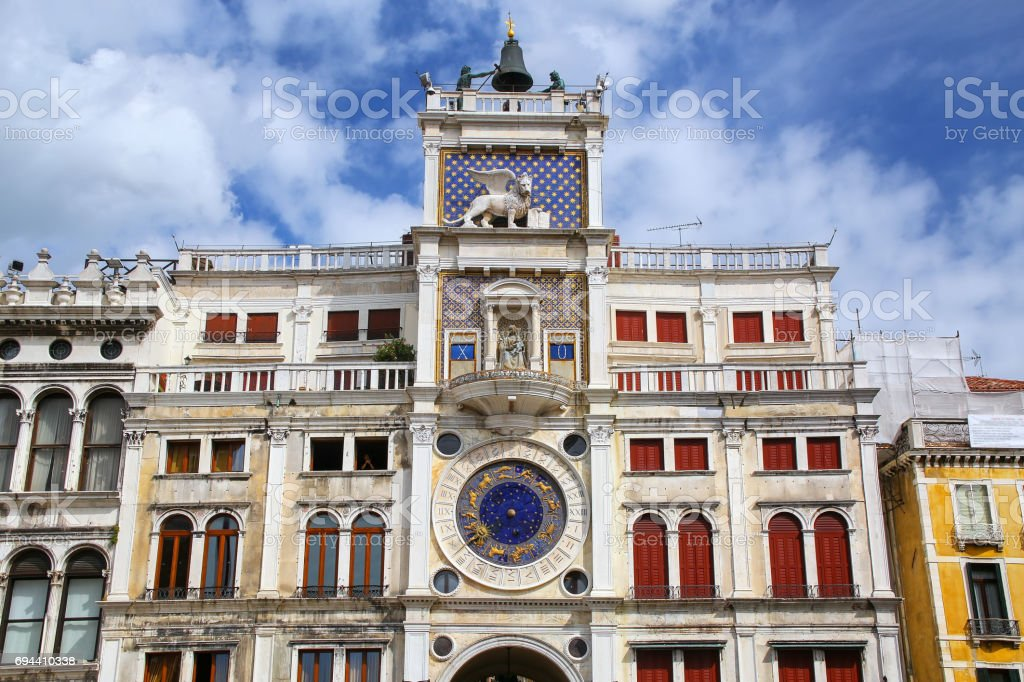 The Clock Tower on Piazza di San Marco, Venice, Italy stock photo