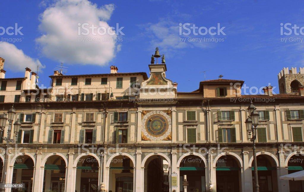 The clock tower on the Piazza della Logia in Brescia. Italy stock photo