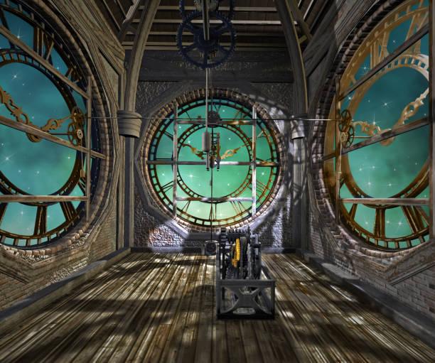 het uitkijkpunt van de klokkentoren - steampunk stockfoto's en -beelden