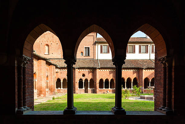 The cloister of the abbey of Chiaravalle in Milan stock photo