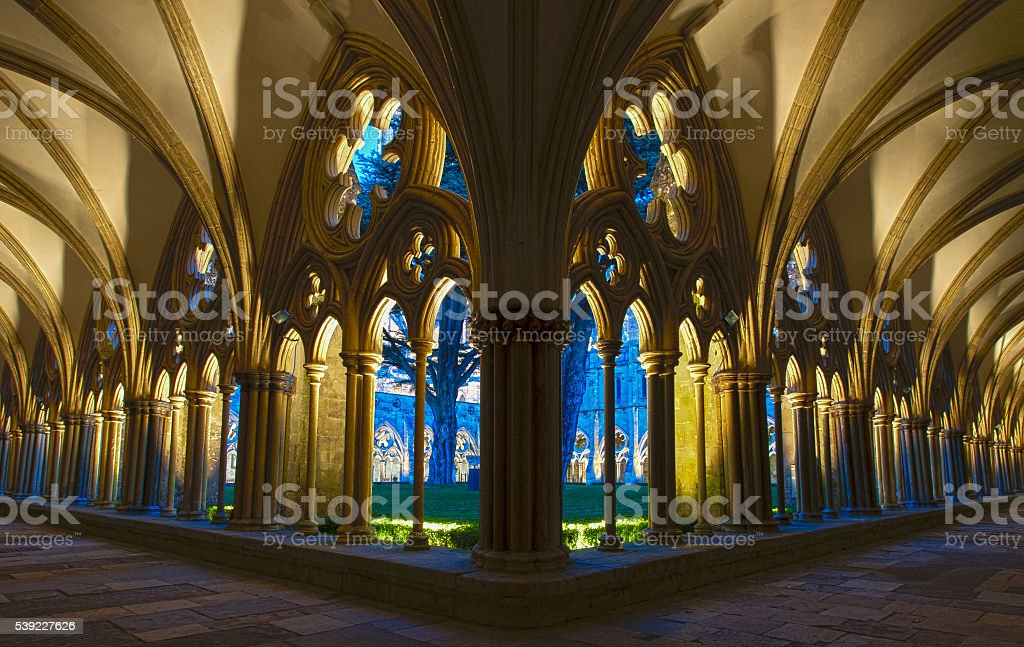The Cloisters at Salisbury Cathedral stock photo