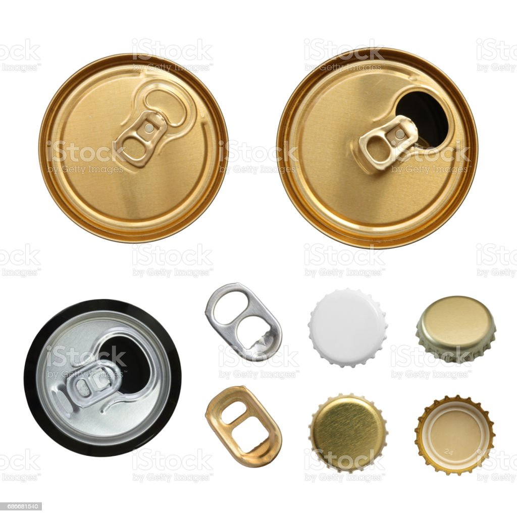 The closed can of beer stock photo