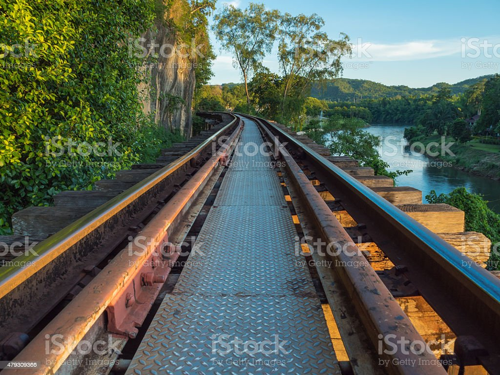 The closed up Death Railway in evening light. stock photo