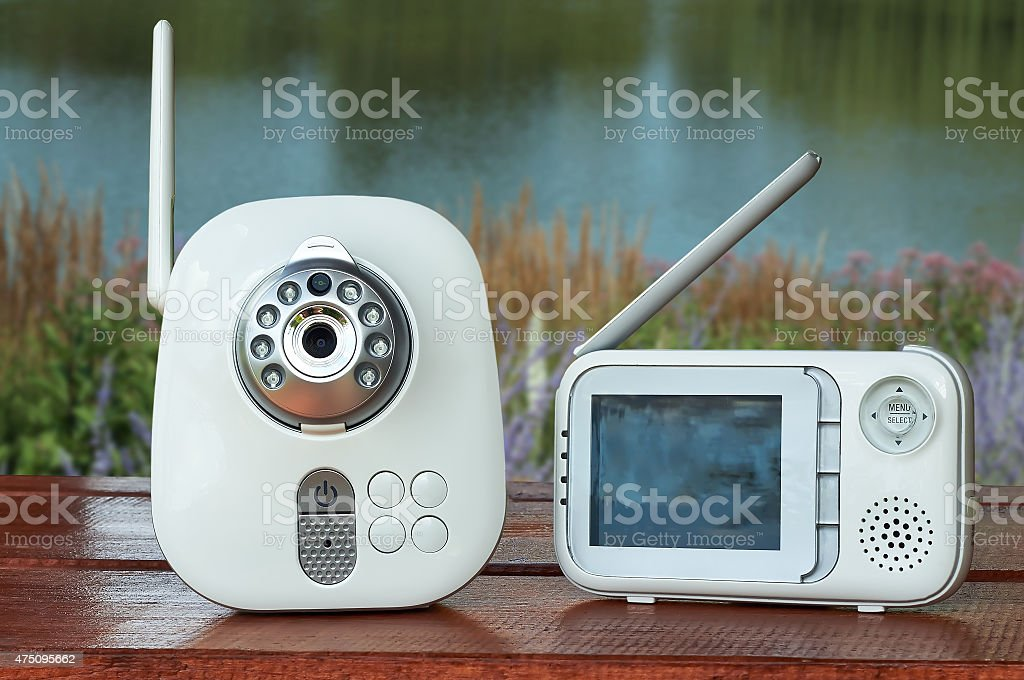 The close-up baby monitor for security of the baby stock photo