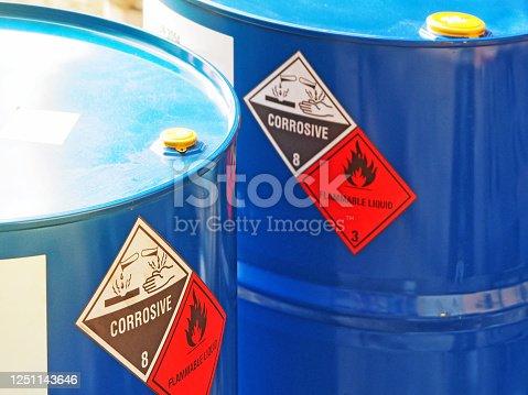 istock the close-up shot of blue color hazardous dangerous chemical barrels. 1251143646
