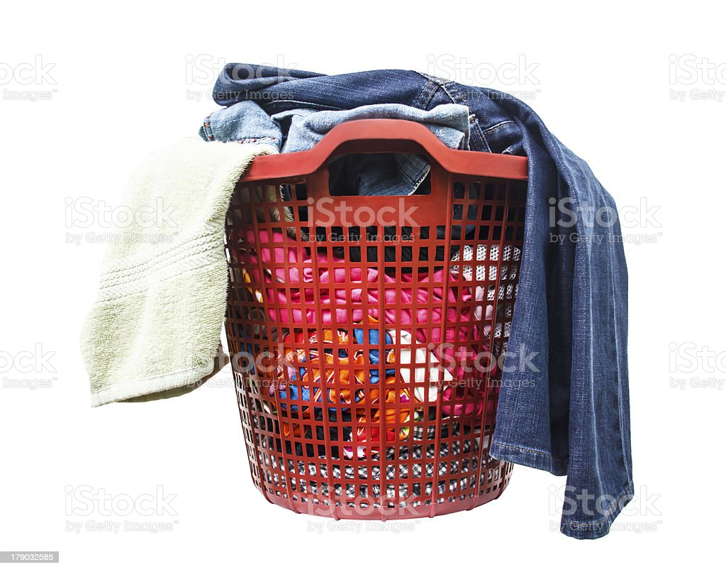 The clothes are not washed in red  plastic basket royalty-free stock photo