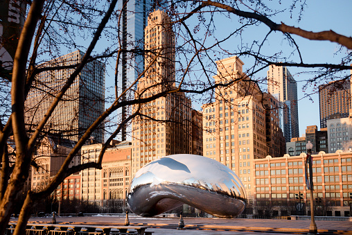 The Cloud Gate or 'Bean' at Sunrise on a Winter Day
