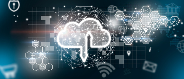 The cloud icon as a Cloud computing, Technology connectivity concept. Ddos Protection Denial Of Service Security. Security in the face of a Ddos attack