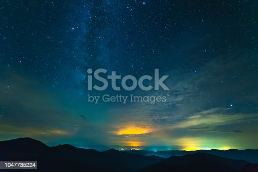 653506436istockphoto The cloud stream above mountains with stars. evening night time 1047735224