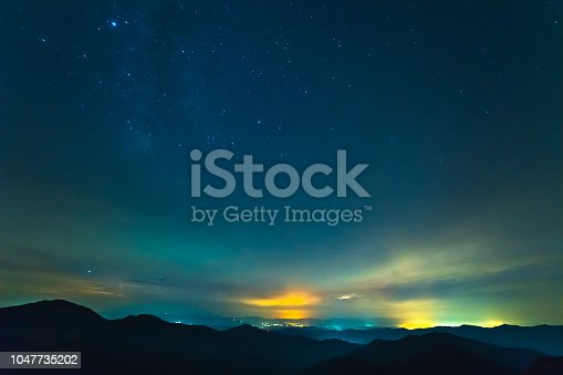 653506436istockphoto The cloud stream above mountains with stars 1047735202