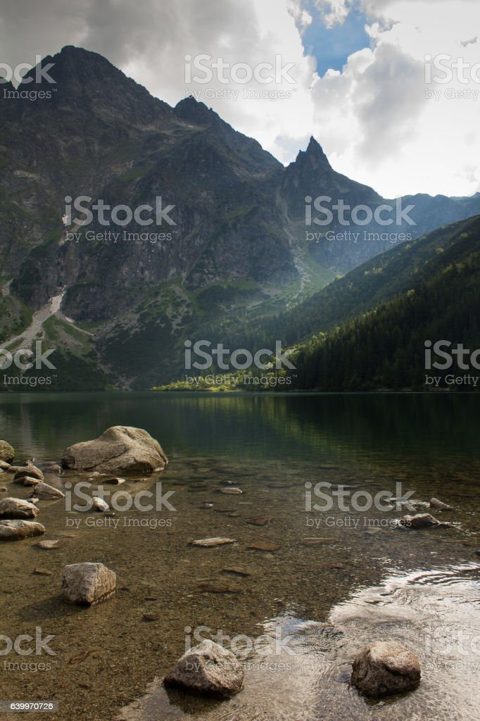 The clouds in the mountains stock photo