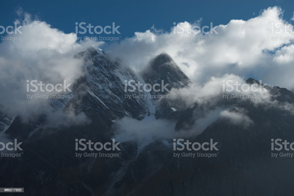 The clouds on the east slope of Mount Everest (the Everest's eastern face) in Tibet, China stock photo