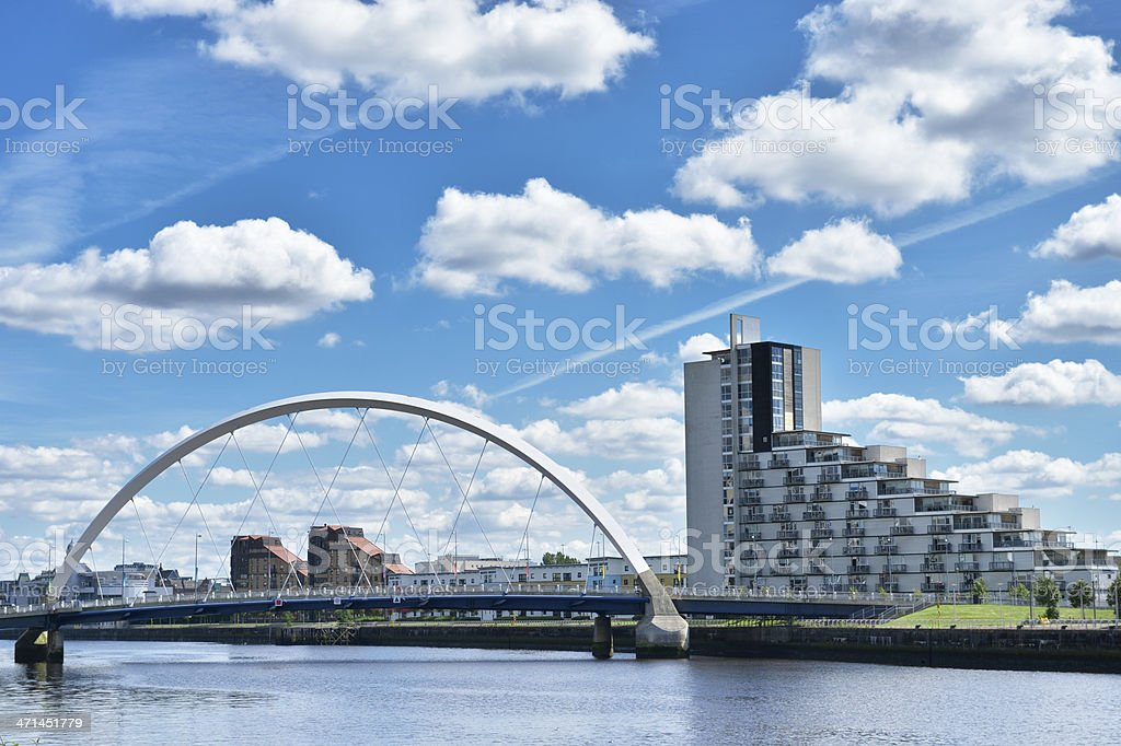 The Clyde Arc or Squinty Bridge in Glasgow, Scotland stock photo