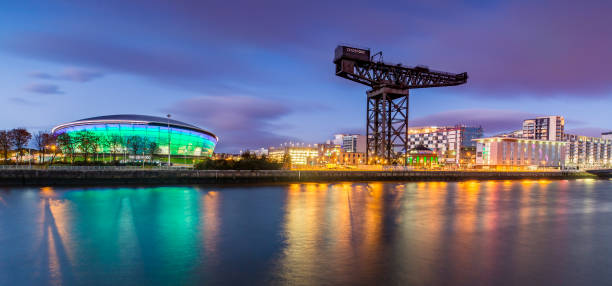 The Clydeport and Glasgow Skyline at Night stock photo