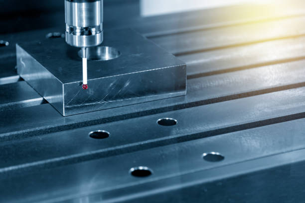 The  CMM laser probe  attach on the CNC machine The  CMM laser probe  attach on the CNC machine  setup the  material part for CNC milling machine. dimensionality stock pictures, royalty-free photos & images