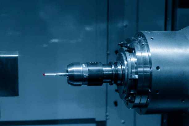 The  CMM probe The  CMM probe attach on the horizontal  CNC milling machine. dimensionality stock pictures, royalty-free photos & images